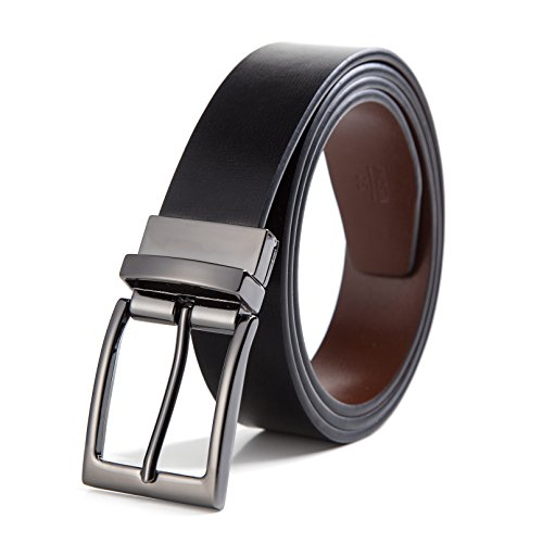 XAvoe Men's Genuine Leather Ratchet Belt Automatic Slide Buckle 1 3/8 Width (Reversible prong belt Black/Brown Style 1, Waist Size 26