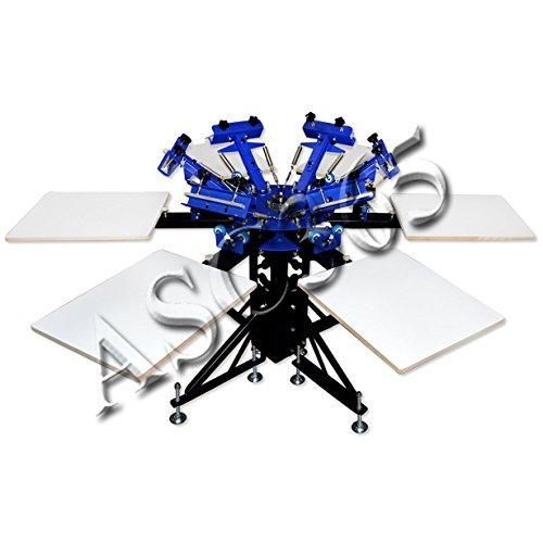 6 Color 6 Station Screen Printing Machine Screen & Platen Rotating Screen Printing Press by Screen Printing Equipment