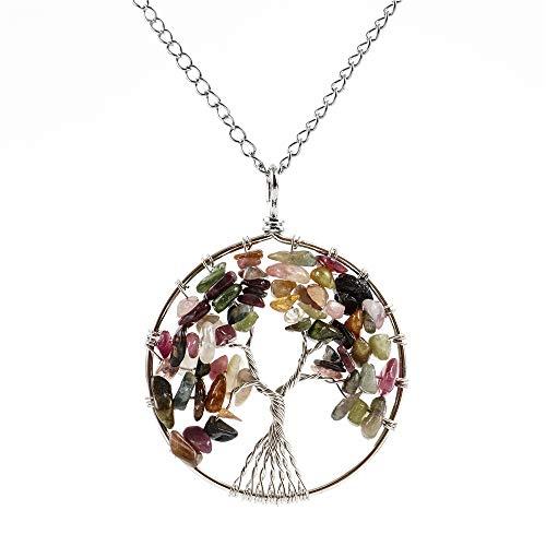 Top Quality Tree of Life Chakra Pendant Necklace Natural Tourmaline Gemstone Chakra Jewelry 26