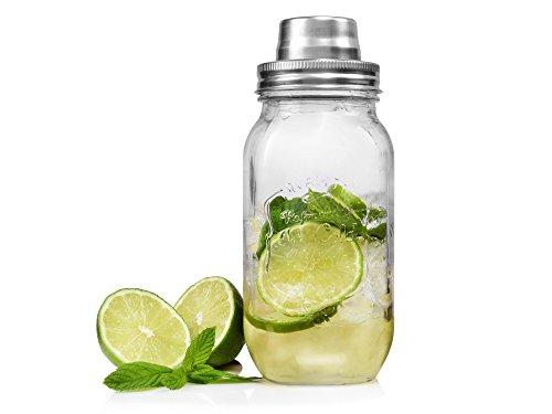 Bluespoon Cocktailshaker aus Glas   Füllmenge 700 ml   Mit Messskala für eine einfache Zubereitung   Mixen Sie Ihre Cocktails in dem Shaker in angesagtem Vintage-Design