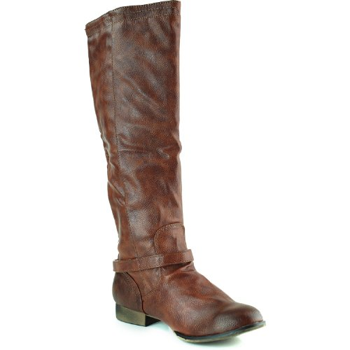 Womens Faux Buckle Knee Boots Leather 5 Cognac Strappy Dakkeni Pu 5 High 3 rwBEaqr