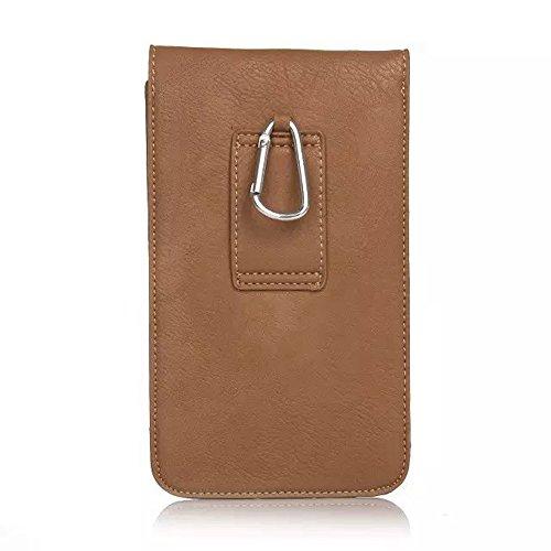 Bolso multifuncional de la bolsa del cinturón de la capa de la caja del teléfono móvil con el mosquetón del lazo para 6.3 pulgadas ( Color : Blue ) Beige