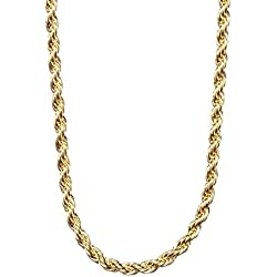 Gold Rope Chain 2MM, 24K Overlay Premium Fashion Jewelry Pendant Necklace, Resists Tarnishing, GUARANTEED FOR LIFE, 20 Inches
