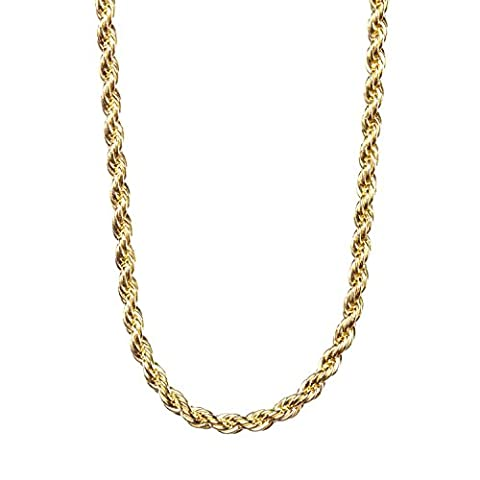 Lifetime Jewelry 2MM Rope Chain, 24K Gold with Inlaid Bronze Premium Fashion Jewelry Pendant Necklace Made to Wear Alone or with Pendants, Guaranteed for Life, 24 (24k Gold Necklace Solid)