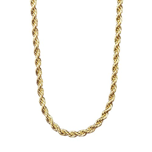 Gold Rope Chain 2MM, 24K Overlay Premium Fashion Jewelry Pendant Necklace, Resists Tarnishing, GUARANTEED FOR LIFE, 24 Inches - 24 Carat Gold Chain