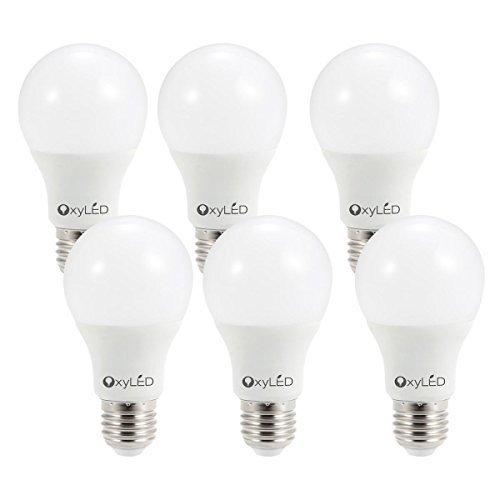 OxyLED 9 W E27,6 Pack de tornillos para casa, 60 W de repuesto incandescente, LED 3000 K 810 lúmenes, no regulable, ahorro de energía, Bombillas de ...