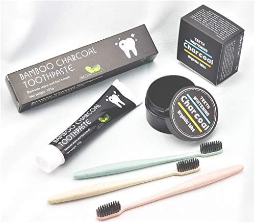 Dental Fibers Tooth Powder - Activated Charcoal Teeth Whitening Bundle: Bamboo Charcoal Toothpaste + Activated Coconut Shells Charcoal Powder + 3 Wheat Straw Toothbrushes| Natural Way To Whiten and Clean Your Teeth.