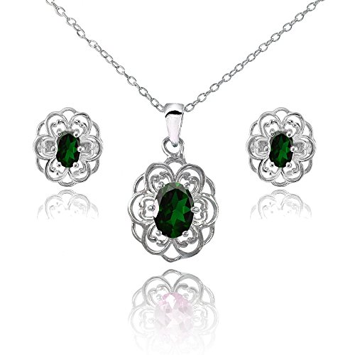 Sterling Silver Simulated Emerald Oval Filigree Flower Pendant Necklace and Stud Earrings Set