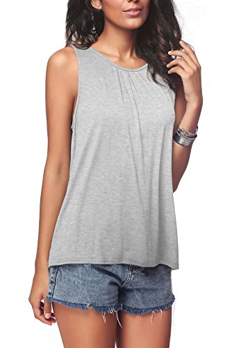 iGENJUN Women's Summer Sleeveless Pleated Back Closure Casual Tank Tops,Light Grey,M
