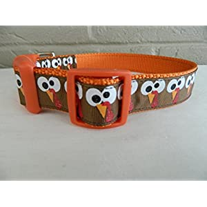 "Schmoopsie Couture Thanksgiving Turkey Gobble Face Dog Collar (Small 5/8"" (8""-13""))"