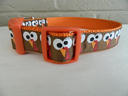 Schmoopsie Couture Thanksgiving Turkey Gobble Face Dog Collar (Large (15