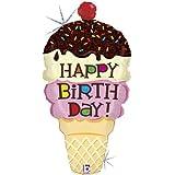"Ice Cream Cone Shaped Happy Birthday 33"" Foil Balloon"
