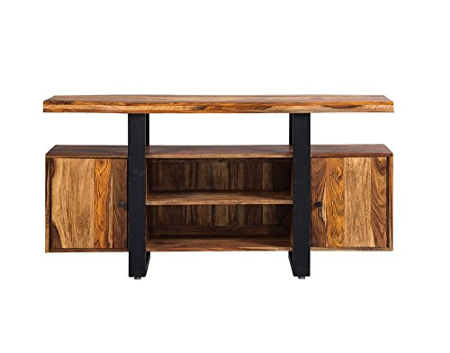 Scott Living Live Edge TV Stand Natural and Matte Black ()