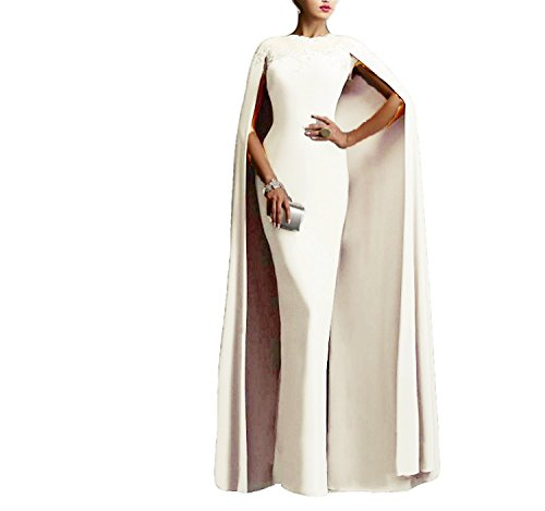 Ellenhouse Women's Long Mermaid Formal Gown Prom Evening Dresses with Cape EL349 Ivory