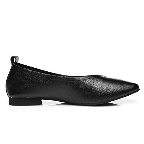 Slip Leather Toe Womens Flat Casual Loafer Black Driver Shoe on Square Comfort Oxfords OBwwqfzX