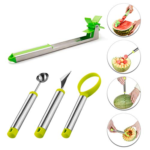 (4 Pack Watermelon Windmill Slicer Set, Stainless Steel Fruit Slicer Carving Kit, Corer Cutter Knife Tongs, Fruit Scoop Dig Pulp Separator, Melon Baller Scoop and Fruit Carving Knife)