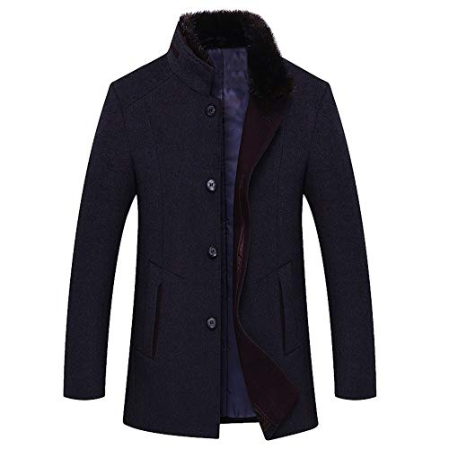 Outerwear Casual Men's Woolen For Size Male Yra Blue Windbreaker Slim Jacket Business Stand Coat Fleece Overcoat Large Fit Collar qAX4v4xw