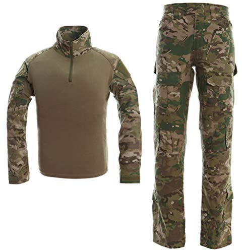 LANBAOSI Men's Tactical Combat Shirt and Pants Set Long Sleeve Multicam Woodland BDU Hunting Military Uniform 1/4 Zip (Apparel Hunting Accessories)