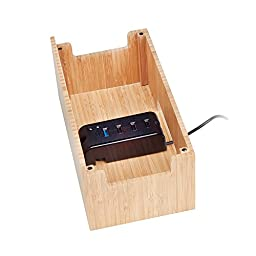 Bamboo Universal Multi Device Cord Organizer Stand and Charging Station for Smartphones, Tablets, and Laptops INCLUDES 4-USB port Charging Strip and Power Supply