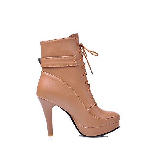 DecoStain Women's Buckle Thin High Heels Lace Up Bootie Brown UzvvPOe7ja