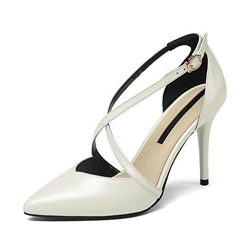 Muma Pumps Hule Høje Hæle Pegede Stilethæl Sandaler Sexede Sko Baotou Enkelt Kvinde (farve: Sort, Størrelse: Eu39 / Uk6 / Cn39) Hvid