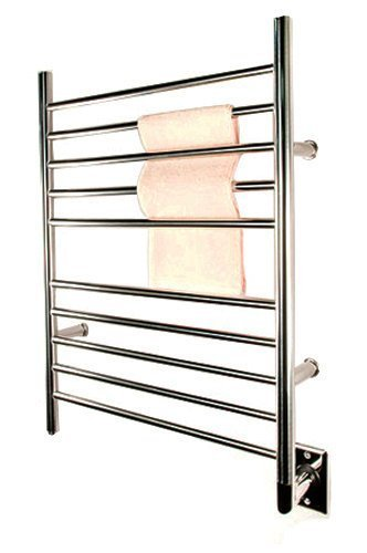 Amba Radiant Steel Straight Hardwired Bath Towel Warmer - Silver Metallic Finish, Polished, Chrome Finish, Steel Finish