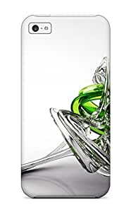 New Fashion Premium Tpu Case Cover For Iphone 5c - 3d White And Green Glass