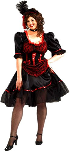 [Forum Novelties Plus Size Saloon Girl Costume, Red, Standard] (Womens Plus Halloween Costumes)