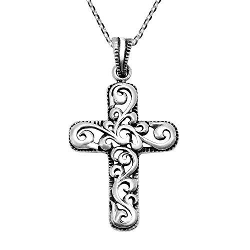 AeraVida Ornate Swirl Filigree Cross .925 Sterling Silver Pendant ()