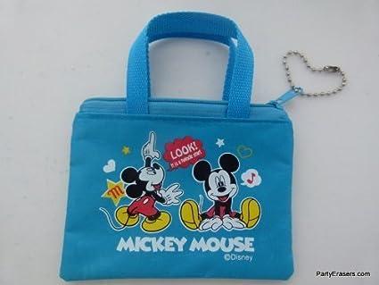 Mickey mouse azul pequeña bolsa monedero con cremallera