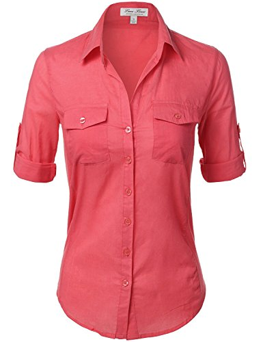 Side Ribbed Panel Stylish Button Down Solid Color Shirts  110-Coral  US - Coral Macys Square