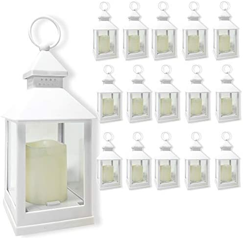 BANBERRY DESIGNS Decorative Lanterns Set – Set of 16-5 Hour Timer 9 3 8 H White LED Lanterns with Flameless Pillar Candles Included – Indoor Outdoor Lantern Set- Hanging or Sitting Decoration