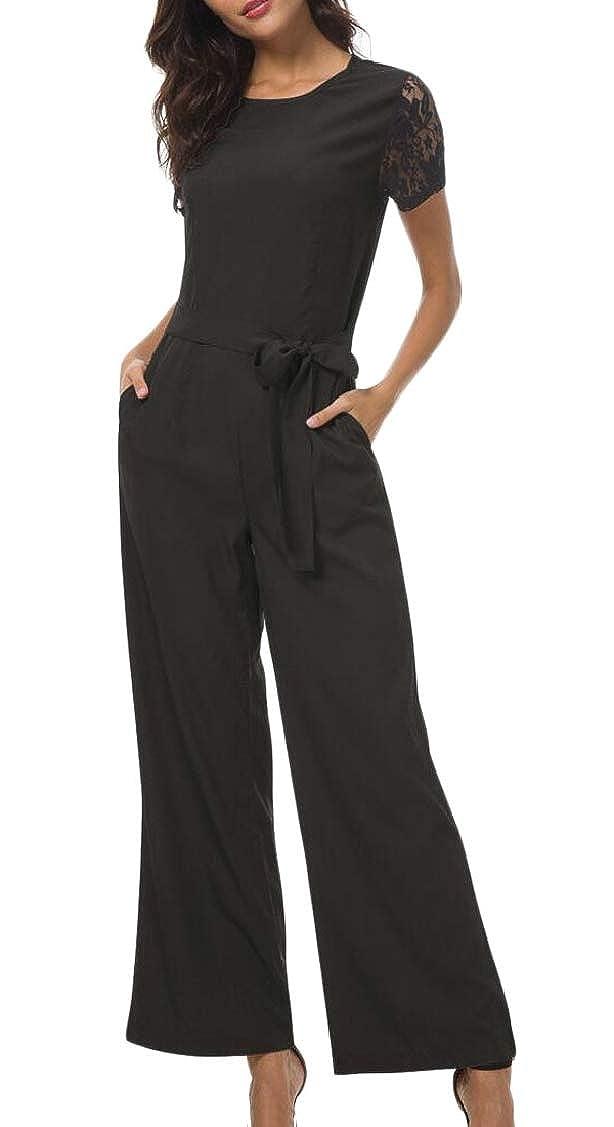 P/&E Womens Belt Classic Crewneck Pocket Lace Backless Wide Leg Playsuit Jumpsuits