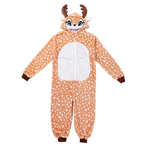 dPois Unisex Boys Girls' Christmas Winter Flannel Reindeer One-Piece Hooded Pajamas Sleepwear Jumpsuit Brown 10-12 ()