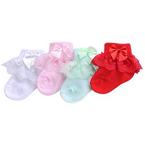 PrinceSasa Infant Newborn Toddler Baby Girl Princess Party Lace Ruffle Frilly White Pink Red Light Green Socks(Pack of 4),3f2345,size 1-2 Year(2Y)