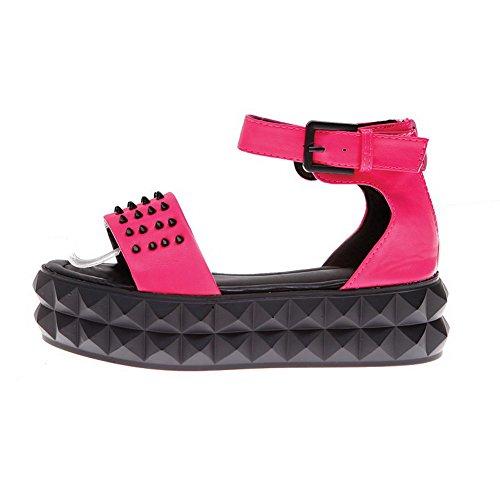 AmoonyFashion Womens Solid Pu Low Heels Open Toe Zipper Sandals RoseRed a6SMhqtvmA