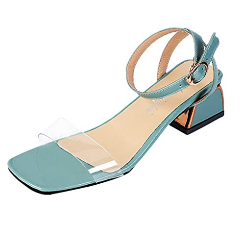 Womens Ankle Strap Chunky Block High Heel Pump Platform Open Toe Clear Sandals Party Wedding Dress Shoes (US:8, Light Blue)