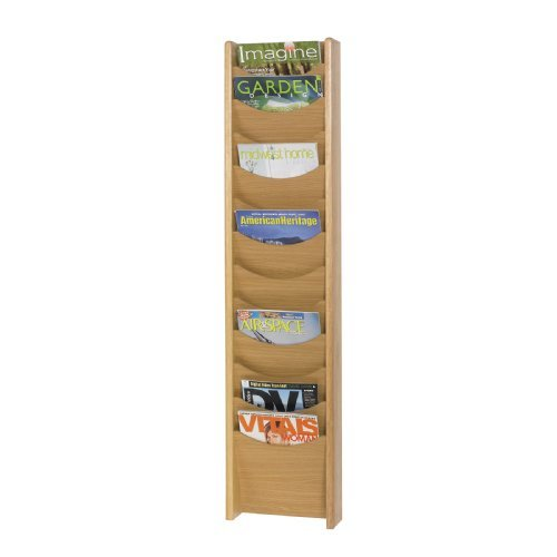 Safco Products 4331MO Wood Magazine Rack, 12 Pocket, Medium Oak by Safco -