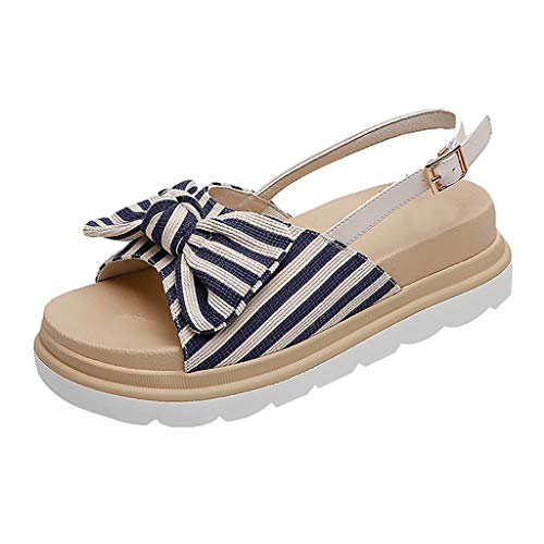 GHrcvdhw Summer Classic Button Stripe Bow Open-Toed Sandals Thick-Soled Stylish Cozy Women Shoes Blue