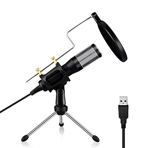 HIOTECH Condenser Microphone Professional USB Plug & Play Studio Recording Mic Microphone with Pop Filter & Tripod for Conference Youtube Facebook Podcasting Games (Windows & Mac) by HIOTECH