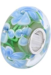 Blue Hawaii Murano Glass and Sterling Silver Bead Charm