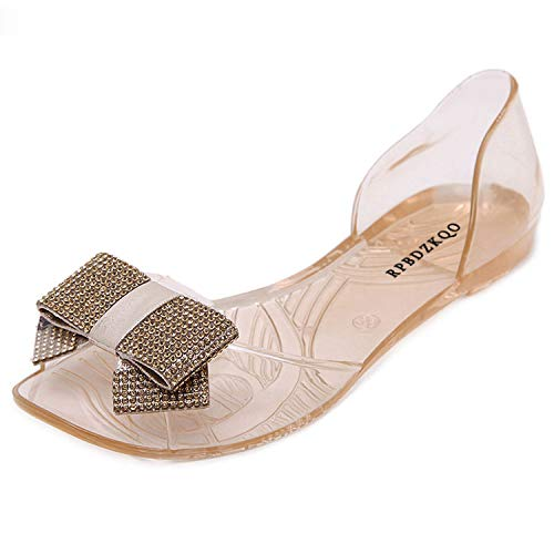 Crystal Jelly Shoes Plastic Sandals Flat Summer 2018 PVC Bow Beach Transparent Bowtie Diamond,Champagne,35 ()