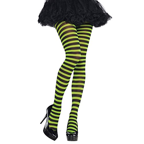 amscan Green & Black Striped Tights One Size, Multicolor