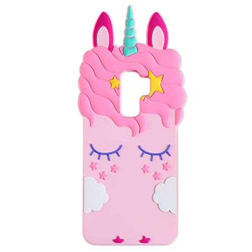 Joyleop Pink Unicorn Case for Samsung Galaxy S9 Cute 3D Cartoon Animal Cover,Kids Girls Cool Fun Soft Silicone Gel Rubber Kawaii Character Fashion Unique Cases Protector Shell Skin Samsung S9