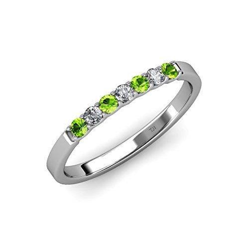 TriJewels Peridot and Diamond (SI2-I1, G-H) 7 Stone Wedding Band 0.25 ct tw in 14K White Gold.size 9.0