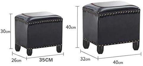 FCXBQ Tabouret en Bois Mode Siège Repose-Pieds Pouf Pouf rembourré Changer de Chaussures Banc Petite Chaise Salon Table Tabouret de canapé, Noir (Taille: 40 * 32 * 40cm)