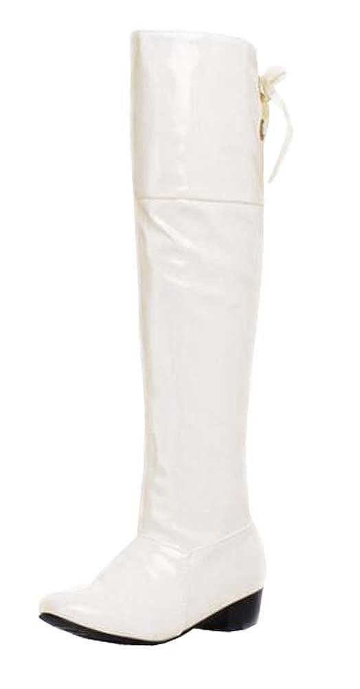 XiuHong Shop Stivali da Neve Donna, Nero (Bianco), 35,5 EU