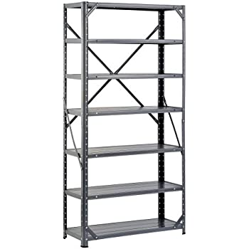 "Edsal HC30127 Steel 7-Shelf Shelving Unit, 750 lb Capacity, 30"" Width x 60"" Height x 12"" Depth"