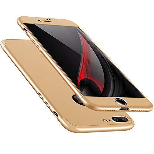 Samhe for iPhone 8 Case, 3 in 1 Ultra-Thin Shockproof Hard Cover 360 Degree Protection for Apple iPhone 8 (Gold)