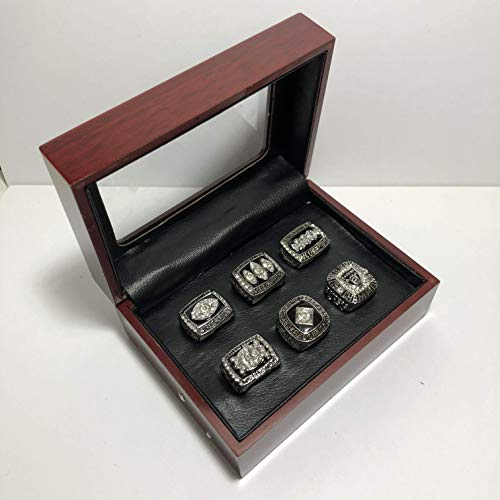 ders Super Bowl (XI, XV, XVIII) & AFC Championship Replica Ring W/Box-Various Sizes Silver Color Collectible ()